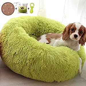 Ailotrd Extra Soft Plush Donut Dog Bed