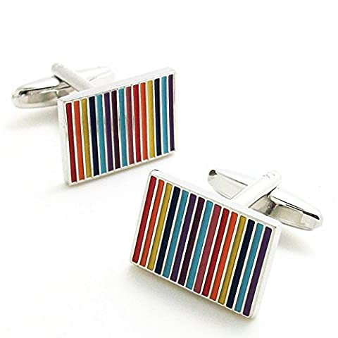 Covink® Novelty Rainbow Rectangular Cufflinks 7 Colors Striped Cuff Button Multi Coloured with Gift