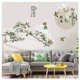 MMLXHH Autocollant Mural Nouveau Style Oriental Fleur Salon Décoration Vinyle Sticker Mural Affiche Vintage Chambre Bureau Bureau Home Decor Murale Murale Art