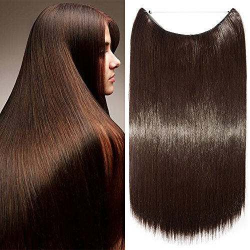 Extension per capelli lunghi lisci fascia unica con filo invisibile 60cm - one piece hair extensions 3/4 full head, marrone cioccolato