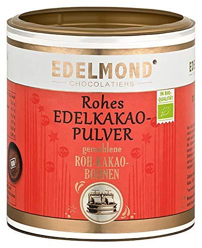 Bio Kakaopulver natürlich und roh 250g Dose von Edelmond. 100% pur + entölt als Rohkost oder Smoothie cacao. AAA Chocolatiers Qualität