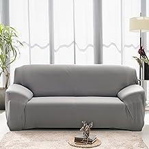 Hotniu Stretch Sofá Fundas de Sofá Reversible 1 pieza Funda para Sofá Home(3 Plazas para 190-230cm,Gris)