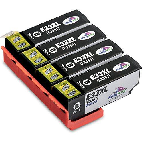 Galleria fotografica Kingway Epson 33XL 33 Nero Cartucce d'inchiostro compatibile con Epson Expression Premium XP-530 XP-630 XP-635 XP-640 XP-645 XP-540 XP-830 XP-900 Stampante 4 pacchi
