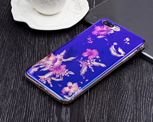 Für iPhone 7 Plus Hülle,iPhone 7 Plus (5,5 Zoll) Silikon Hülle,Mo-Beauty® Klare Ultradünne Silikon Gel Schutzhülle Durchsichtig,Bunte Blumen Malerei Painted Muster Transparent TPU Sillikon Weich Ultra F