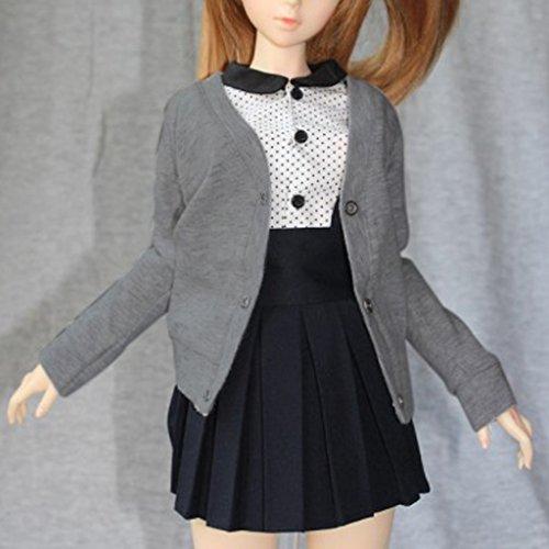 Cardigan Sweater à Boutons Vêtements de Poupée 1/3 1/4 1/6 BJD SD Dolls -Gris - 1/3