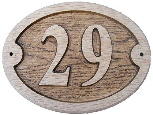 Eiche Natur Holz (Oval Eiche natur Holz House Tür Zahl 17,8x 15,2cm stark geprägt Gravur Natürliche Holz Oberfläche Schild Haus Erwärmung Geschenk (175x 150mm) von fastcraft UK, eiche, 29)