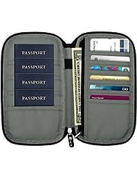 Fintie Funda para Pasaporte - Cartera Billetera de Viaje Familiar Bolsa de Organizador de Documento Bloqueo de RFID con Correa de Mano para Tarjetas de Crédito Dinero Pasaporte, Denim Charcoal