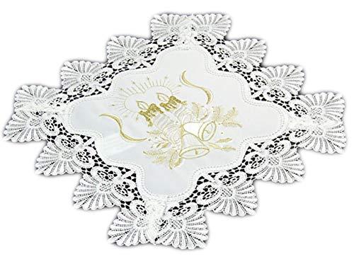 Markenlos Tischdecke 40x40 cm Weihnachten Weiß Spitze Kerze Gold gestickt Weihnachtsdecke Spitzendecke (40 x 40 cm) - Gold Gesticktes Spitze