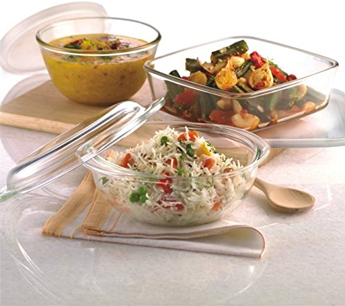 Borosil Glass Essential Combination Set - Square Dish with Lid 1.6L, Mixing Bowl with Lid 1.3 L, Easy Grip Bowl - 1.5L Glass Bowl Set (Clear, Pack of 3)  available at amazon for Rs.2200