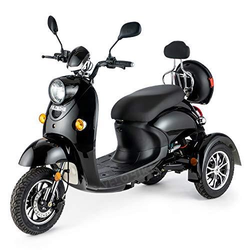 VELECO ZT63 Scooter elettrico 3 ruote per anziani e disabili Seniors Allarme 650W NERO