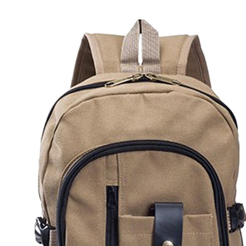 Butterme Unisex Cotton Canvas zaino College School dello Zaino dello zaino Bookbag spalle di Daypack Borsa Sport allaria aperta di viaggio Cachi scuro