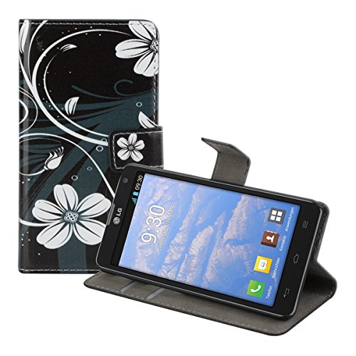 kwmobile Funda chic de cuero sintético para el LG Optimus L9 II con una práctica función de soporte - ¡Diseño espiral de flores en blanco negro!