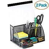 Halter Steel mesh Desk organizer porta di alimentazione con 6scomparti e 1cassetto–nero (confezione da 2)