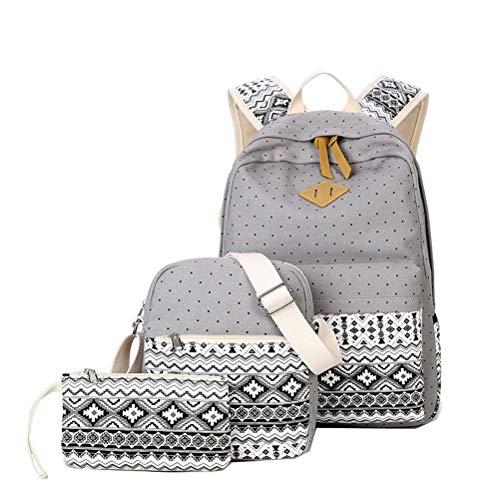 Women Girl School Bags For Teenagers backpack set shoulder travel bag  3pcs set(Gray 1a031b040d41e