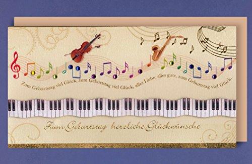 Grukarte-Geburtstag-Handmade-Applikationen-Musikinstrumente-Noten-Musik-21x11cm