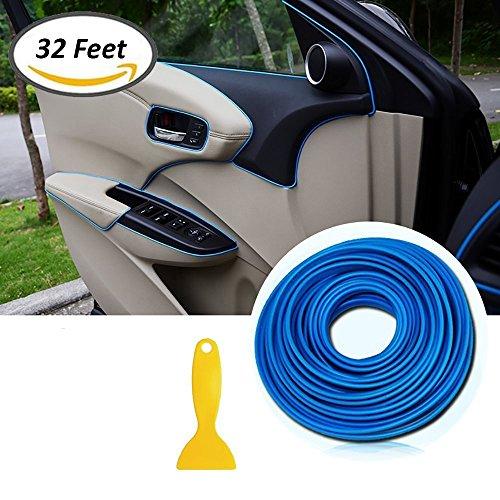 Tiras de molduras interiores para autos - AUTOMAN Tiras de molduras para autos de decoración de 32 pies con herramienta de instalación Adorno de guarnición de la línea de corte (azul cerca de 10M)