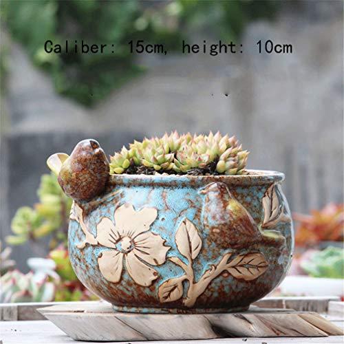 MNYHY Blumentopf Terrakotta Vogel Topf Keramik Keramik Porzellan Becken 15 * 10cm/2 Stile,Blau