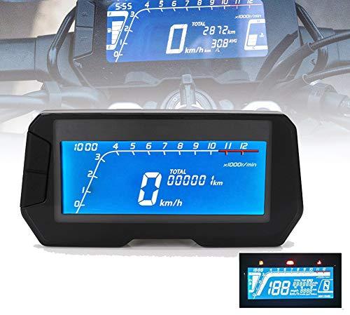 HYWOT 12V Motorrad-Digitaltacho, Backlit Tachometer Digital-Entfernungsmesser mit Geschwindigkeitssensor 2 und 4 Zylinder,Schwarz