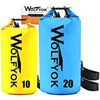 (2 Packs) 20L   10L Dry Bag - Wolfyok Roll Top Waterproof Floating Duffle  Dry Gear Bag with Adjustable Shoulder Straps for Boating   Kayaking    Fishing ... e2cc5d779df97