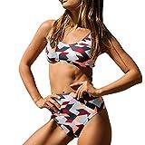 Alaso Bikini Online Shop Frauen Bandeau Bandage Bikini Set Push-Up Brasilianische Badebekleidung Beachwear Badeanzug (L, Multicolor)