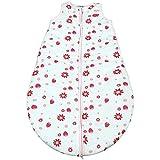 Gräfenstayn Baby-Schlafsack ganzjährig für Jungen und Mädchen - verschiedene Motive und Größen - mit integriertem Reißverschluss - super weich und atmungsaktiv (Rosa-Weiss, 90cm)