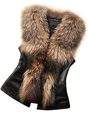 Chaleco de piel sintética Chaleco sin mangas de invierno Chaleco de abrigo de mujer Chaleco largo de chaleco