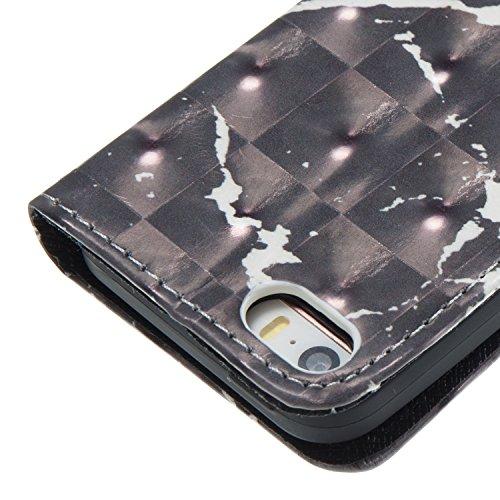 iPhone 5 / 5S / SE (4.0 pouce) Coque , Marbre Étui Protection Wallet PU en Cuir Housse la Haute Qualité Pochette Anti-rayures Couverture Bumper Rabat Magnétique Antichoc Cuir Véritable Case Anfire Cov Noir