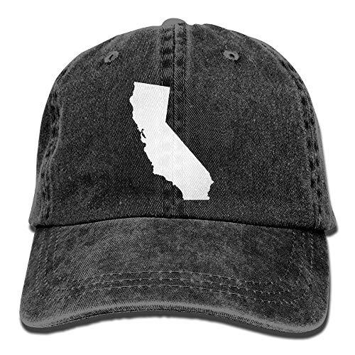 California State Map Plain Adjustable Cowboy Cap Denim Hat for Women and Men -