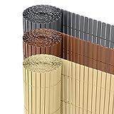 Ribelli® PVC Sichtschutzmatte Sichtschutzzaun Sichtschutz Zaun Balkon Windschutz (120 x 300 cm, Bambus)