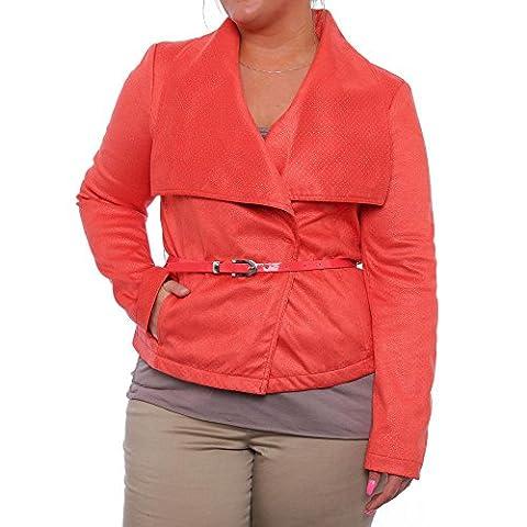 Kenneth Cole NY Damen Removable Belt Snap Up Jacket Jacke Rosa Größe M