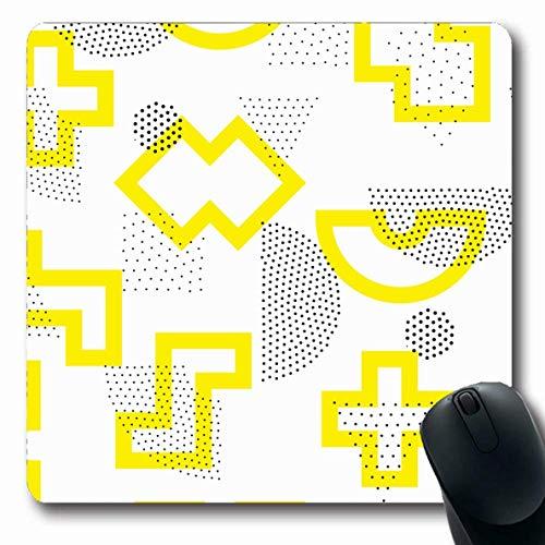 Mousepad längliche minimale gelbe Form geometrische universelle abstrakte Muster achtziger Jahre schwarz Hipster Kreis Linie Design Büro Computer Laptop Notebook Mauspad, Rutschfeste Gummi,Gummimatte - Linien Hipster