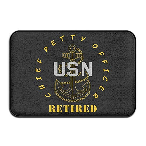 Neoqwez US Navy - CPO Chief Petty Officer Retired Doormat Door Mats Mats Bathroom Rugs for Indoor Outerdoor Bathroom