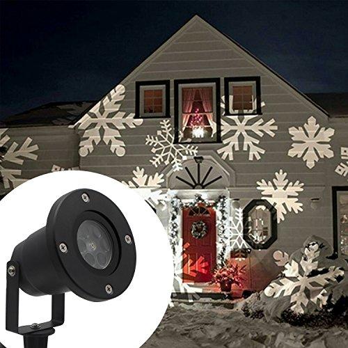 Weiße Landschaft Beleuchtung (LED Projektor Lichter,LED Projektionslampe Weiß Snowflake Landschaft Weihnachts Wandstrahler Außenstrahler Lichteffekte dynamische Motive, Party Licht, Gartenlicht für Festen DJ Xmas)