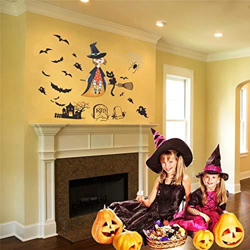 Wall Sticker ZOZOSO Halloween Decoración Fliegende Bruja Geist Fledermaus Adhesivos De Pared Refrigerador Festival Decoración Wandtattoo Wandbild Kartell