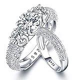 AANGG Set di anelli da sposa in argento 925 Marchio di fidanzamento con diamanti simulato