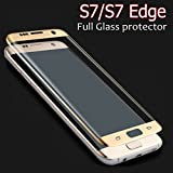Samsung Galaxy S7 Edge Tempered Glass Golden Screen Protector Edge To Edge Perfect Fit High Quality Glass 2.5D Round Edge 0.33mm Thickness 9H Hardness Oil Coated By MJ CREATION