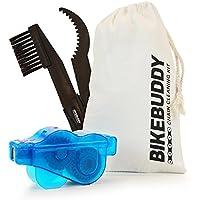 Producto limpiador para cadenas de bicicleta – Aparato de lipieza para cadenas de biccleta Bikebuddy de color azul + Cepillo de para piñon en set para corona de dientes y limpieza de cadenas