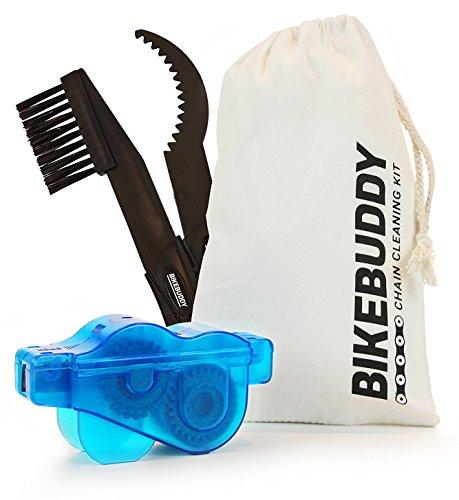 Fahrrad Kettenreiniger - Bikebuddy Kettenreinigungsgerät in blau + Ritzelbürste im Set für Zahnkranz und Kettenreinigung