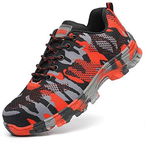 Gainow Unisex sicherheitsschuhe mit stahlkappe arbeitsschuhe pannensicherer schutz industrie-sneaker breathable schuhe 12 uk camouflage rot