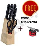 #2: ABbuy Stainless Steel Knife Set with Knife Sharpener - Kitchen Knife Set with Wooden Stand - 7 Pieces