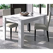 Habitdesign - Mesa de comedor extensible de 140 a 190 cm, color blanco brillo, dimensiones cerrada 90 ancho x 140 largo x 78 altura
