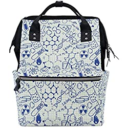 Science Chemistry Geometry Math Nerd Geek and Genius Mochila Escolar de Gran Capacidad para mamás y Laptop, Bolso de Mano Casual, para Viajes, para Mujeres, Hombres, Adultos, Adolescentes, niños
