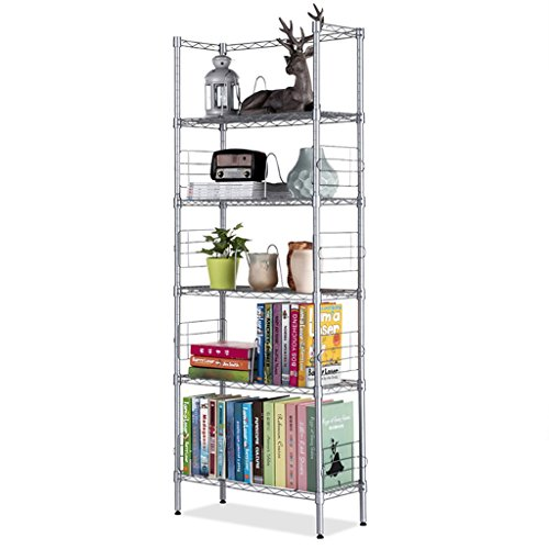 Meng Wei Shop Regale Ablagen Regal Metallbücherregal Bücherregal Einfaches Fünfreihengestell Wohnzimmerlagerregal Metal Kohlenstoffstahl fünf Schicht Gestell (Color : Silver, Size : 25x60x150cm) (5 Regal-land Bücherregal)