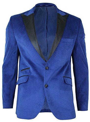 Giacca Elegante da Sera da Uomo Blazer Aderente In Velluto Blu e Risvolto in Raso Nero Blu