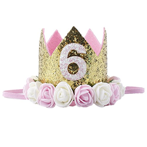 Missley Crown Rose Blume Golden Crown Geburtstag Stirnband Prinzessin Baby Mädchen Crown Stirnband Haar Zubehör (6) (Verkleiden Für Mädchen Nur Sich)