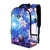 LMJTSL Galaxy Schulrucksack Unisex USB wiederaufladbare Nylontasche Junge Mädchen Reisetasche Teen Schultasche Zaino, c