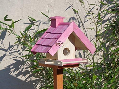 Vogelfutterhaus,BEL-X-VOWA3-pink002 Großes Vogelhäuschen + 5 SITZSTANGEN, KOMPLETT mit Futtersilo + SICHTGLAS für Vorrat PREMIUM Vogelhaus - ideal zur WANDBESTIGUNG - vogelhäuschen, Futterhäuschen WETTERFEST, QUALITÄTS-SCHREINERARBEIT-aus 100% Vollholz, Holz Futterhaus für Vögel, MIT FUTTERSCHACHT Futtervorrat, Vogelfutter-Station Farbe pink rosa rosarot süß, MIT TIEFEM WETTERSCHUTZ-DACH für trockenes Futter