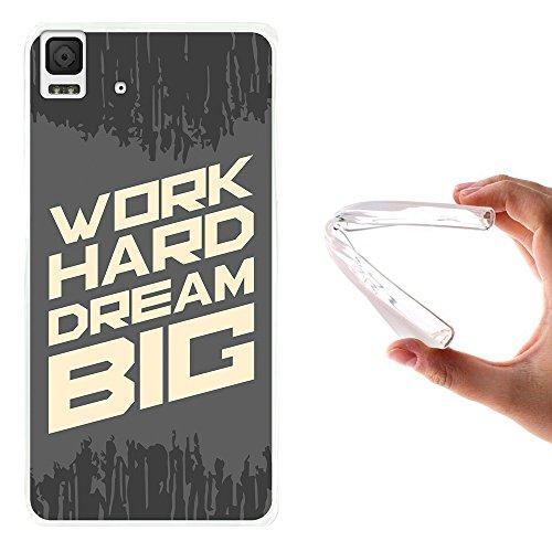 WoowCase Bq Aquaris E4.5 Hülle, Handyhülle Silikon für [ Bq Aquaris E4.5 ] Motivierungssatz - Work Hard Dream Big Handytasche Handy Cover Case Schutzhülle Flexible TPU - Transparent