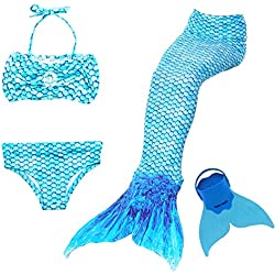 Maillot de Bain 4 Pièces définit Queue de Sirène avec Monopalme pour Nager Mermaid Bikini Ensembles Costume Cosplay Filles