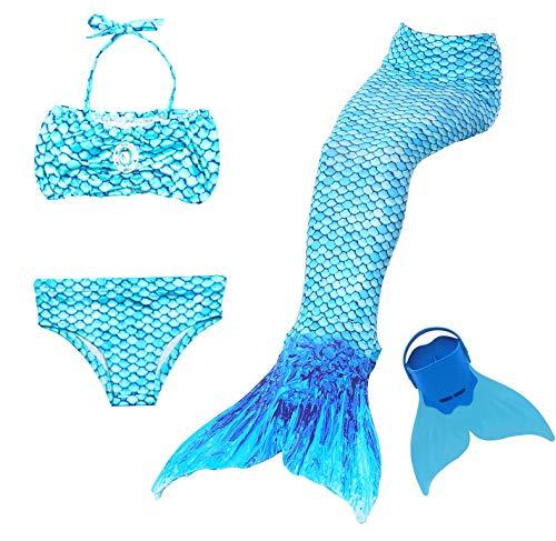 Traje de Baño 4pcs Bikini Establece para Niña Cola de Sirena para...